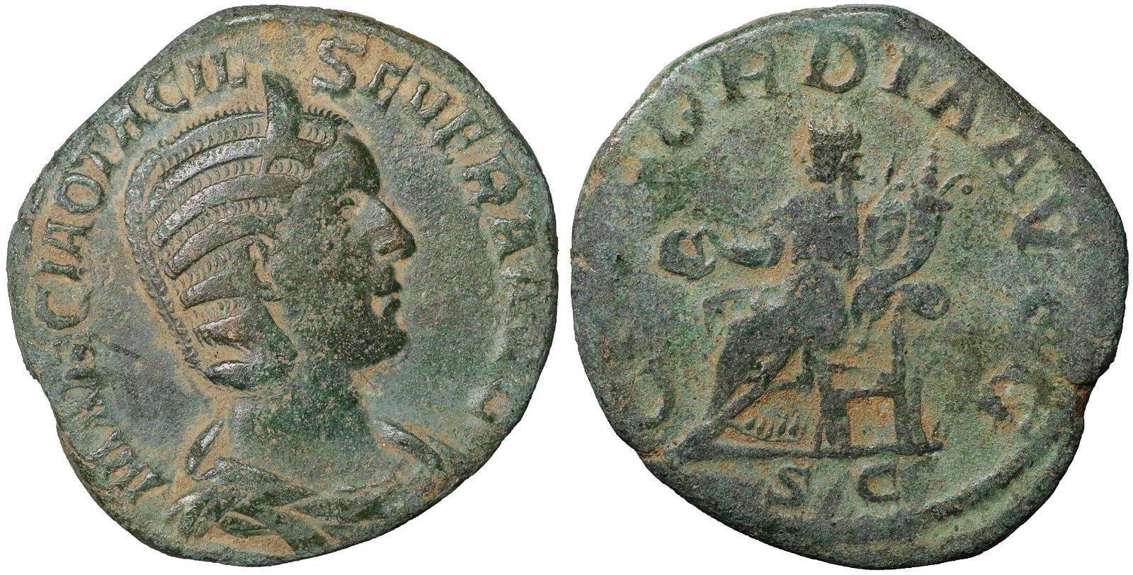 Otacilia Severa. 244-249 AD Bronze Sestertius Roman
