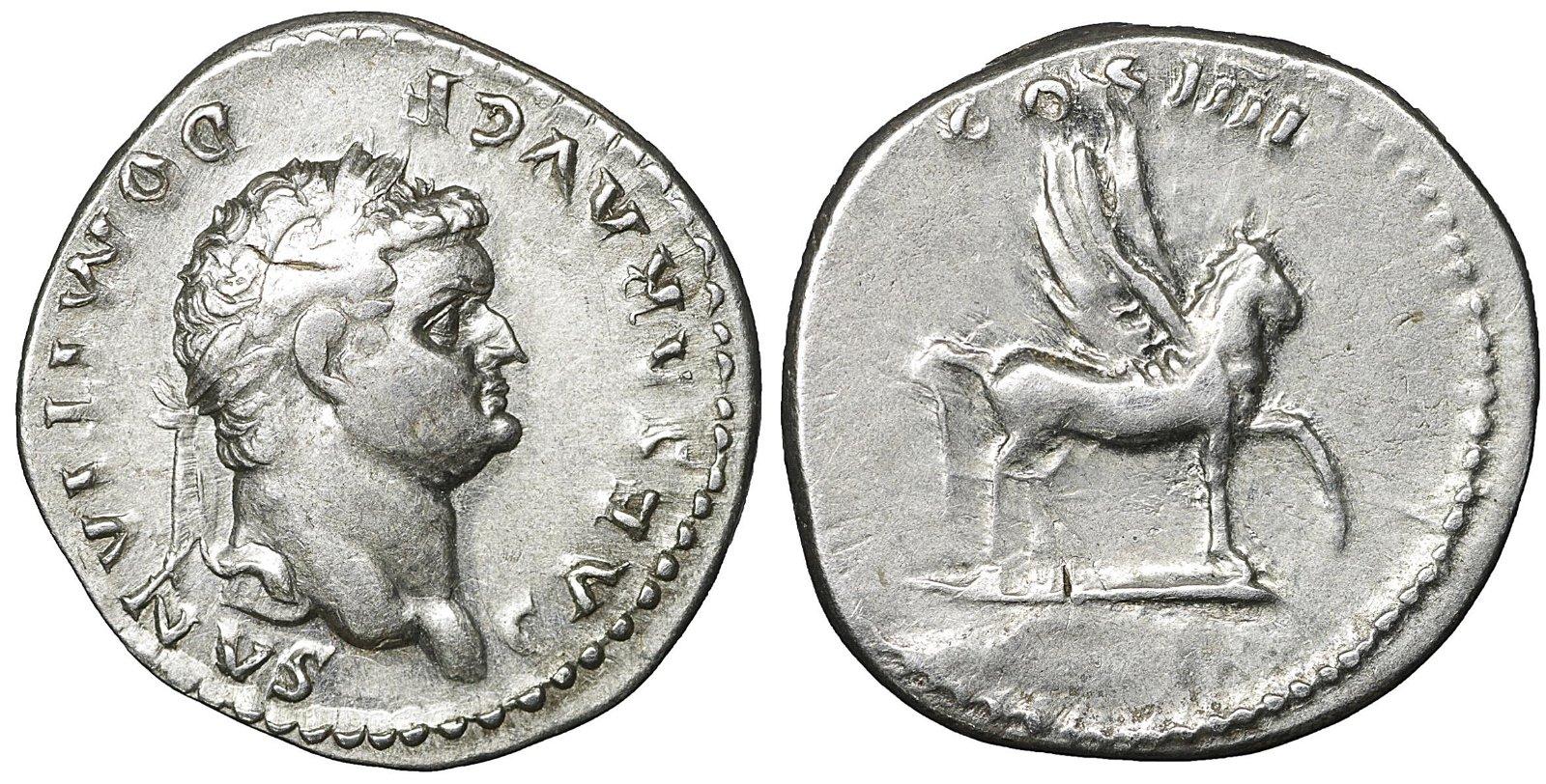 Domitian Silver Denarius 96 AD Scarce XF Roman empire