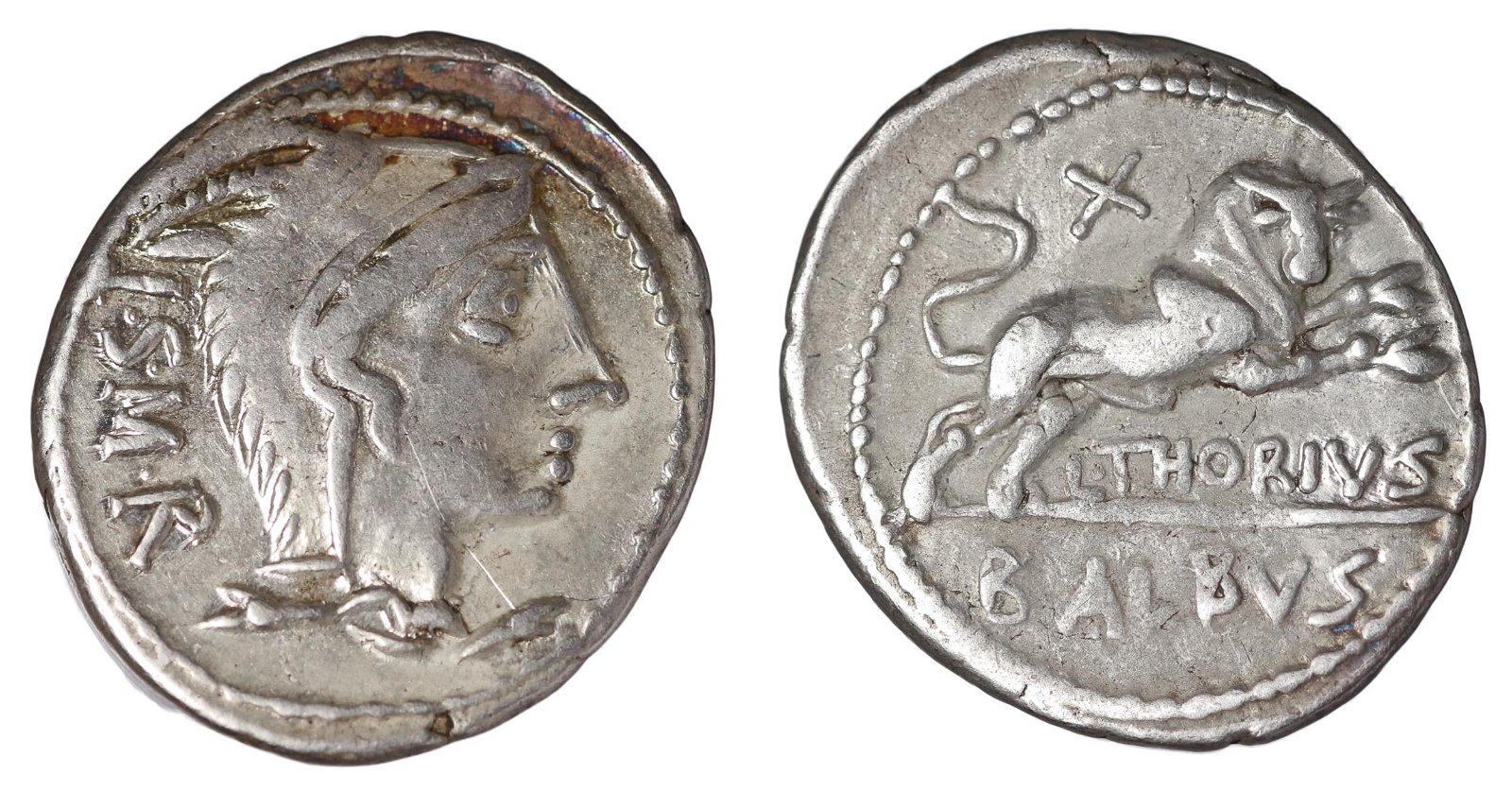 Thorius Balbus 105 BC Silver Denarius Roman Republic