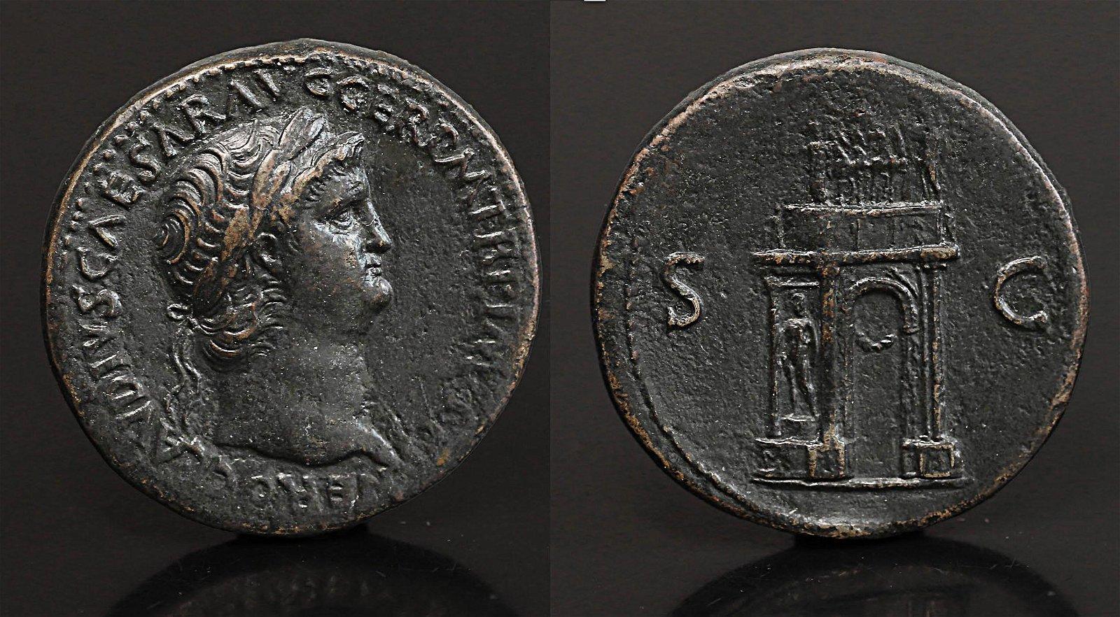 Emperor Nero Sestertius 64 AD Rare Roman Coin