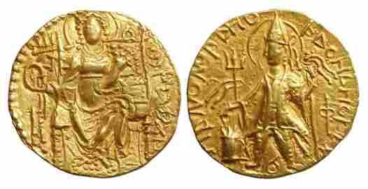 Kushan Empire Vashishka Gold Dinar Gandhara AD 247-267