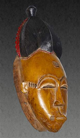 Ivory Coast Baule people Old Ceremonial mask Yellow and
