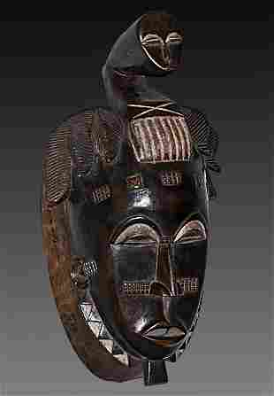 Ivory Coast Baule people Old Ceremonial mask Face on