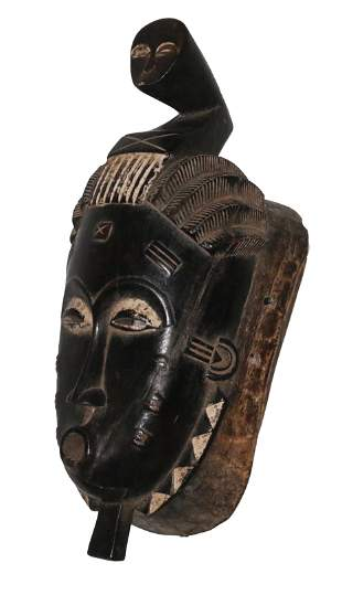 Ivory Coast Baule people Ceremonial mask Human face on