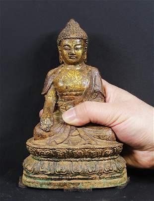 Tibet/China Bronze and Iron temple Buddha statue 1900