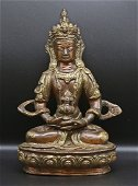 Tibet 1960 Gold-brown plated Bronze Buddha statue 21 cm