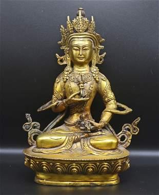 Tibet 1960 Gold plated Vajrasatva Buddha 20cm - 839 gr.