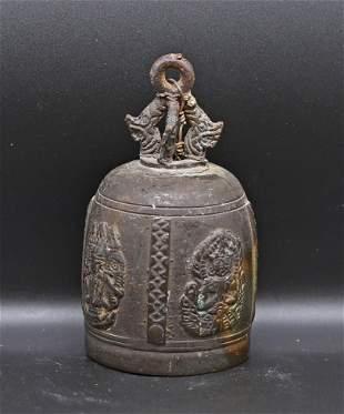 Tibet 1800/1850 Old ceremonial bronze bell 12 cm