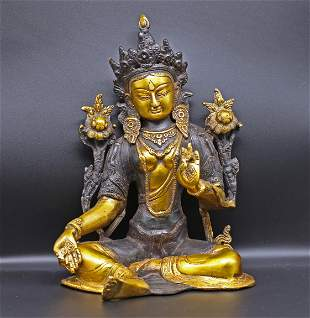 Tibet 1970 Impressive bronze Buddha Green Tara. 2,6