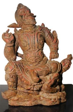 China HeilongJiang Qing 1800 AD Iron Vajrapani statue