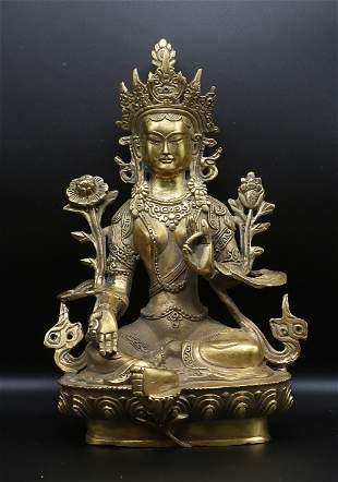 Tibet 1960 Gold plated Tara Buddha statue 21 cm – 1