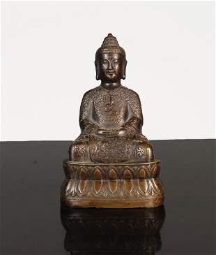 China Bronze Buddha statue Qian Long mark 1920