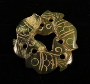 China Handcarved jade amulet 1900 33 gr.