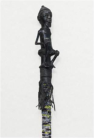 Rare Cameroon Bamileke ceremonial bronze rod. 1850