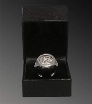 Men's silver ring with an ancient greek coin Florence