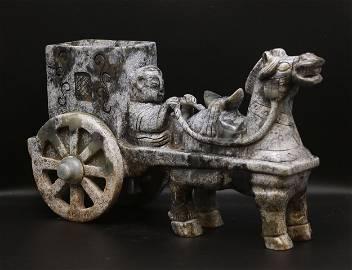 China Qing 1800 Chariots statue 4,2kg-32 cm