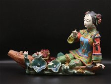 China Qing dynasty 1850 porcelain statue 26cm
