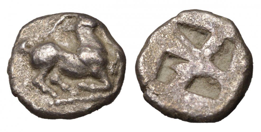 MACEDONIAN CITIES AIGAI 480 BC Trihemiobol GREEK COIN