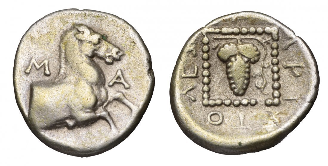 MARONEIA. 385-347 BC. AR 1/4 of Stater GREEK COIN