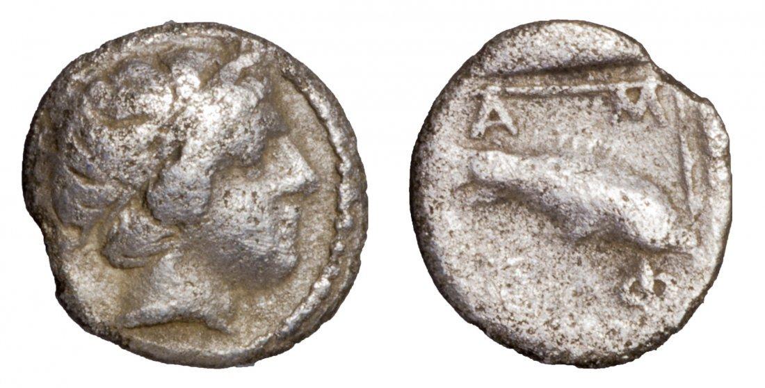 MACEDONIA. Amphipolis. 357-353 BC. AR Obol. GREEK COIN