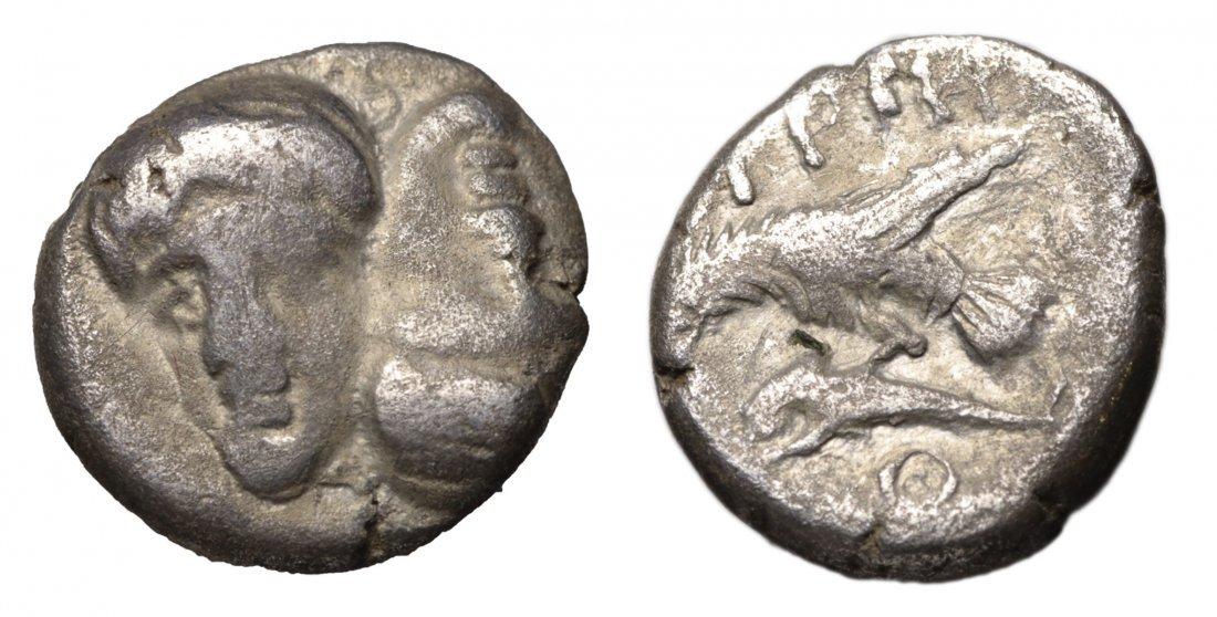 MOESIA Istros 4th century BC AR Trihemiobol GREEK COIN