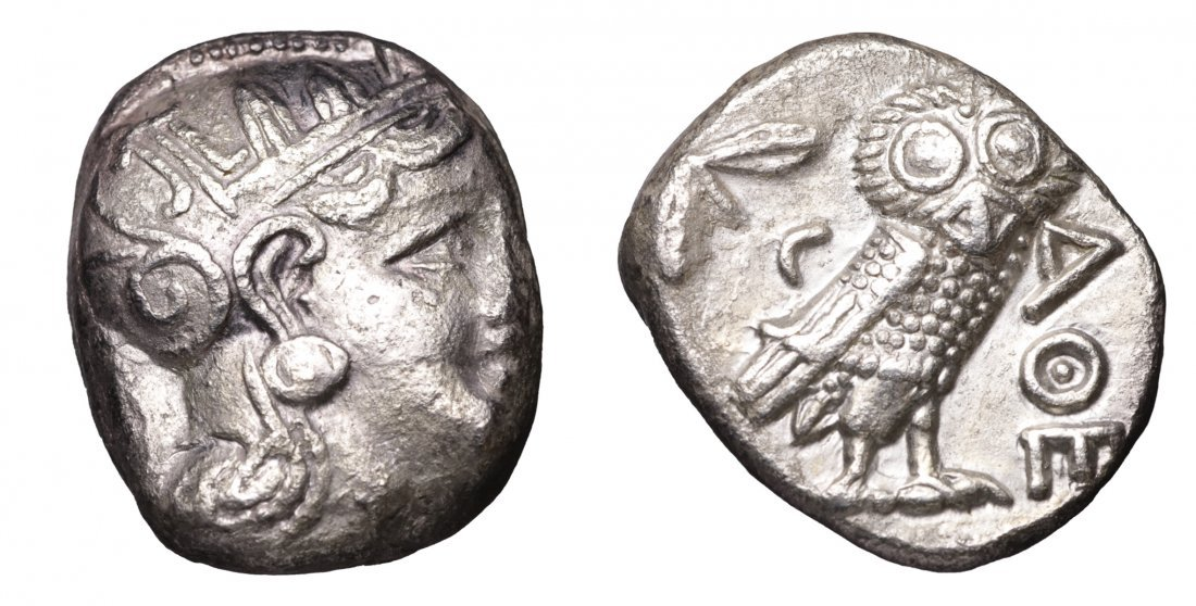 ATTICA Athens 393-300 BC Tetradrachm Athena greek coin