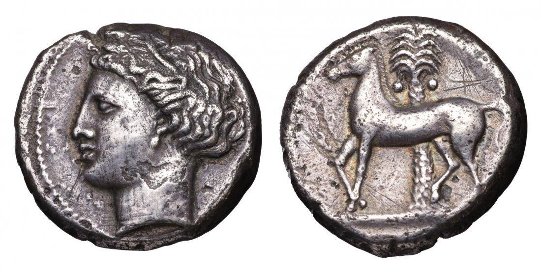 ZEUGITANA. Cartago. 350 BC circa. AR Tetradrachm