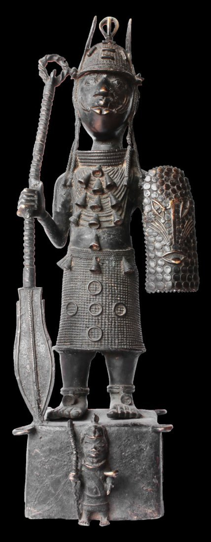 HEAVY BRONZE STATUE OF SOLDIER YORUBA PEOPLE 20Kg 98 cm