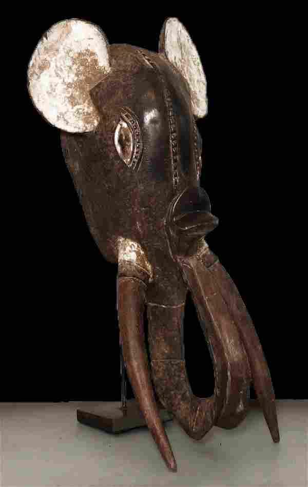 """OLD CARVED ELEPHANT MASK BAULE' 69cm-27"""""""