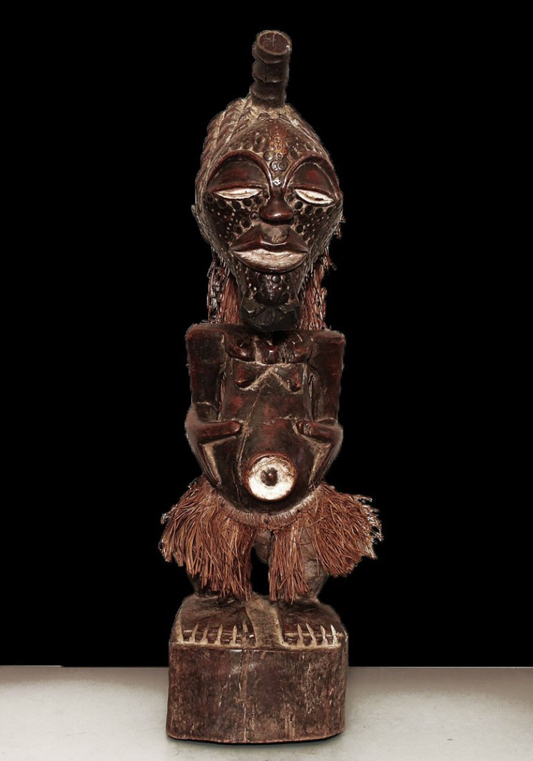 """OLD FINE CARVED STATUE SONGYE EARLY 1900 AD 67cm 26"""""""