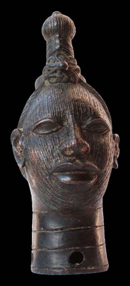 BENIN IFE TRIBES BRONZE BUST OF QUEEN IFE early 1900
