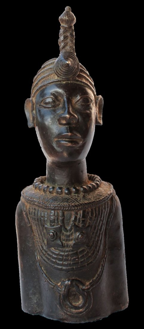 BENIN IFE TRIBES BRONZE BUST OF KING IFE early 1900