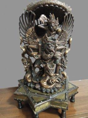 Handcarved Wooden Balinese Statue Of Vishnu Riding