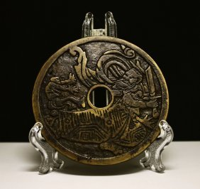 Heavy Bronze Amulet Qing Dynasty Cast In 1800 85 Mm