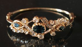 Gold Bracelet 18 Kt Wih 24 Diamonds, 3 Sapphires Early