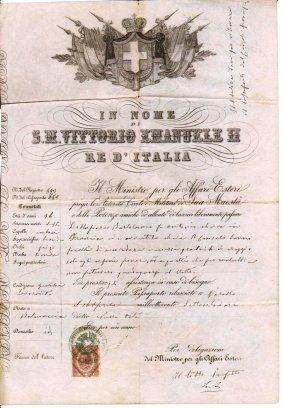 Kingdom Italy 1872 Passport Under Vittorio Emanuele Ii