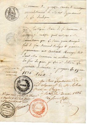 1836 Doc. French Embassy Sign Minister Sicily Kingdom