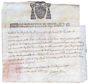 Marseille 1771 Letterhead Bishop Jean-baptiste Belloy