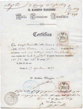 Ancient Jewish Manuscript Chief Rabbi I. Pardo 1859