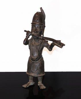 Benin Bronze Statue Of Warrior Ife 19th-20th Century Ad