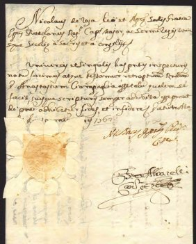 Naples 1762 Manuscript And Signature Colonel Sanchez