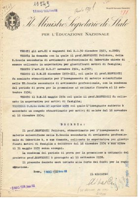 Rome 1935 Signature Education Minister Val Cismon