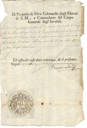 Naples 1796 Manuscript De Silva Colonel Bourbon Army