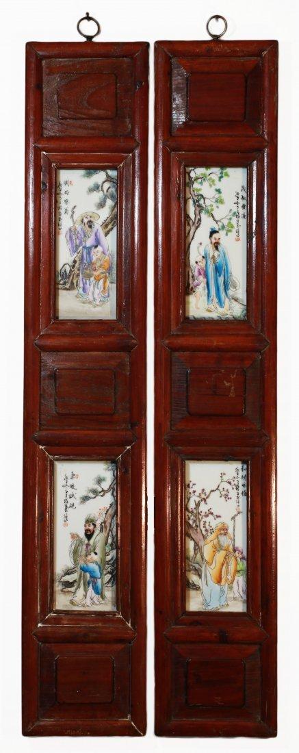 Porcelain plaque into a carved wooden frame Qing
