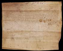 Ancient Parchment manuscript Spain 1459 Notarys act