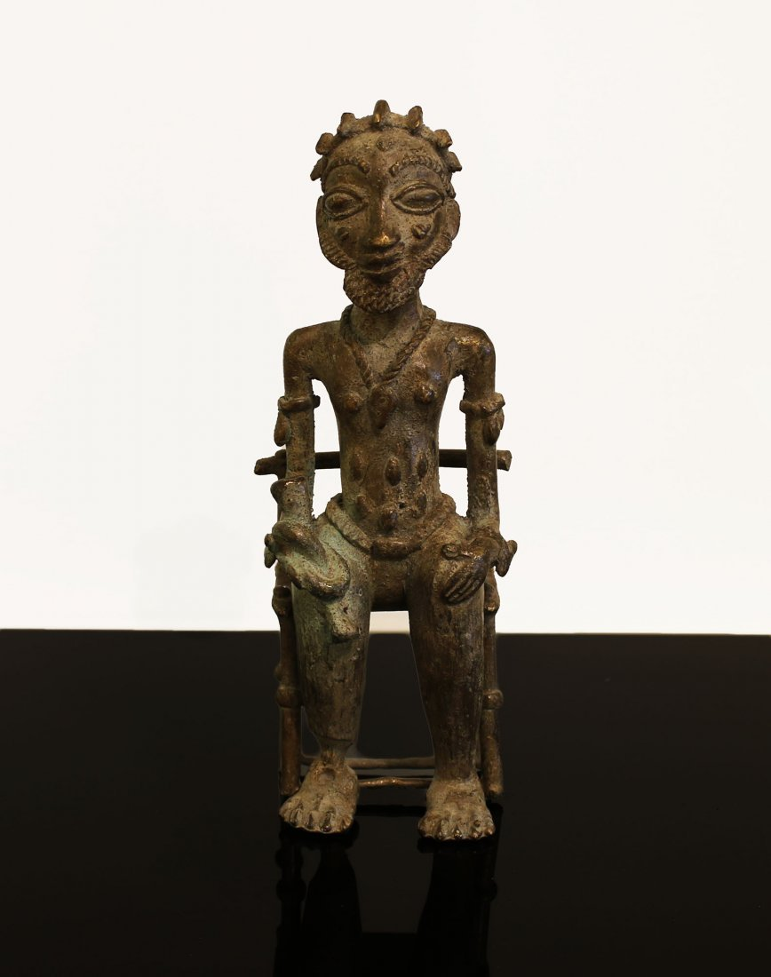 Ivory coast Bronze statue Baule man 1850 circa