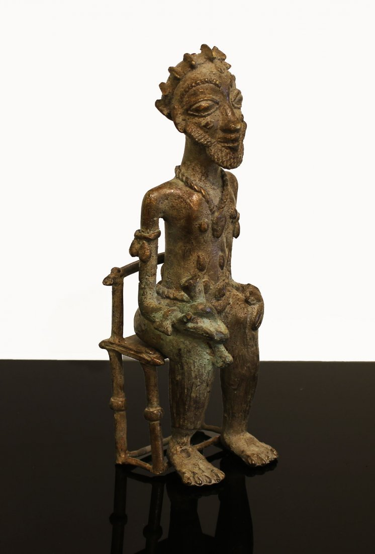 Ivory coast Bronze statue Baule man 1850 circa - 2