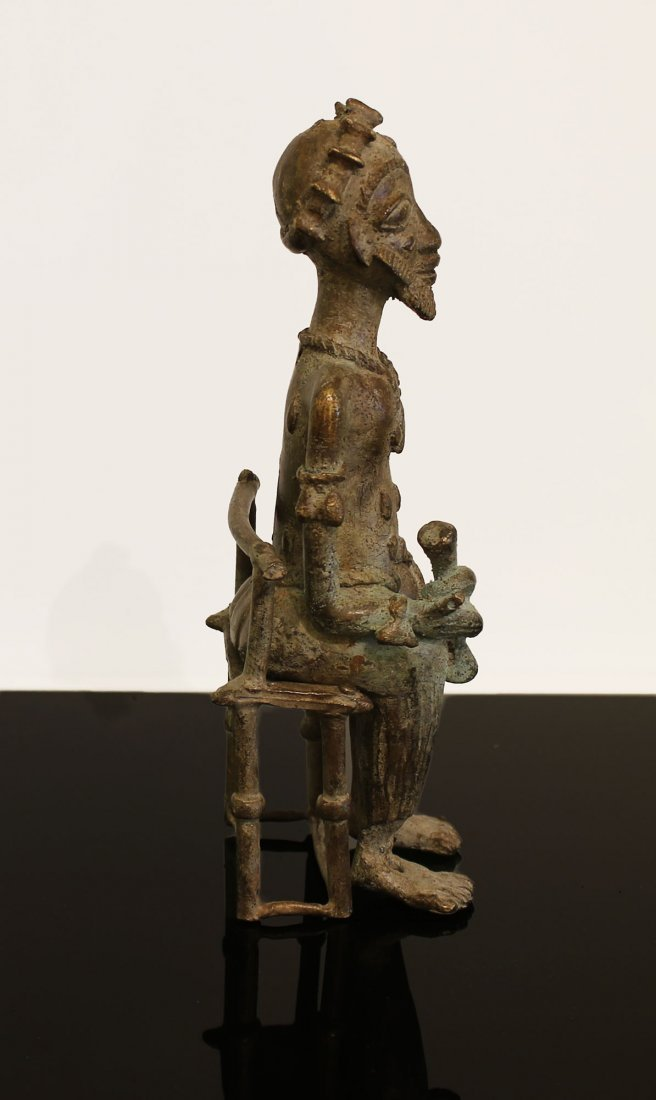 Ivory coast Bronze statue Baule man 1850 circa - 3