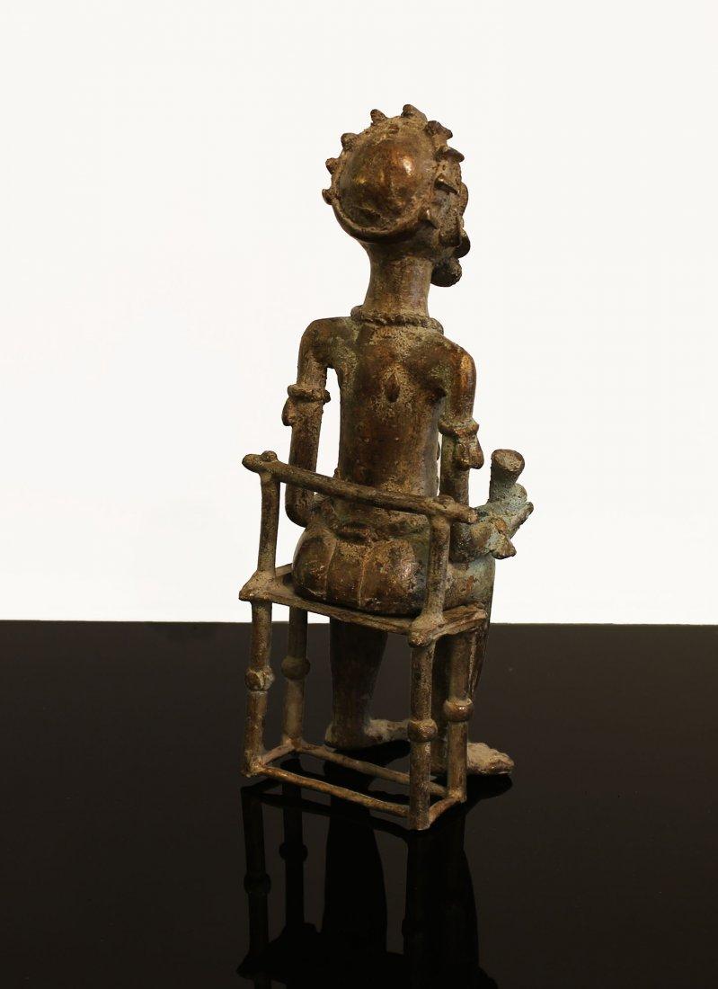 Ivory coast Bronze statue Baule man 1850 circa - 4
