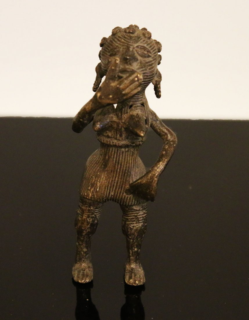 Ivory coast. Ashanti People. Bronze woman statue. 1900